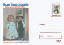 99280- LENAU MUSEUM, FOLKLORE COSTUMES, DOLLS, CHILDRENS, COVER STATIONERY, 2004, ROMANIA - Poppen