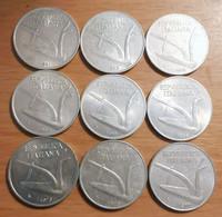 Italie - 10 Lires - Lot De 9 Pèces - 1951,1952,1953,1954,1955,1956,1973,1975,1977. - 10 Lire