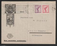 Zusammendruck Aus Markenheftchen MiNr. W 22 A 379+379 15+10 Pf Auf Zierbrief Von HALLE (SAALE)12.2.32 Nach Stolp - Covers & Documents