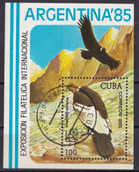 Kuba Block 90 Gestempelt, Internationale Briefmarkenausstellung ARGENTINA'85 In Buenos Aires - Blocks & Sheetlets