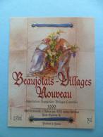 Etiquette Vin Beaujolais Villages Nouveau 1999 - Beaujolais