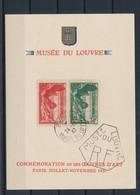 """ED-344:  FRANCE : Lot Avec Feuillet Cartonné ** """"Musée Du Louvre Avec N°354/355 Obl - Covers & Documents"""