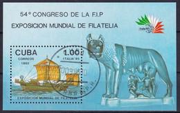 Kuba Block 91 Gestempelt, Internationale Briefmarkenausstellung ITALIA'85 In Rom - Blocks & Sheetlets