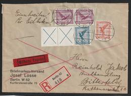 Zusammendruck Aus Markenheftchen MiNr. W 21.2 X+X+380 +A 379/A379+ 381 EINSCHREIBEN-EILBRIEF Von BERLIN W 62 - Covers & Documents