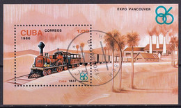 Kuba Block 95 Gestempelt, Weltausstellung EXPO'86 In Vancouver - Blocks & Sheetlets