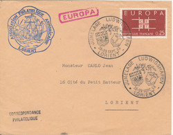 France Cover With Special Postmark Jumelage Ludwigshafen Lorient 28-29/9-1963 Single Franked EUROPA CEPT Stamp - Brieven En Documenten