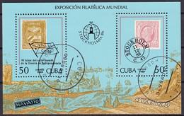 Kuba Block 96 Gestempelt, Internationale Briefmarkenausstellung STOCKHOLMIA'86 In Stockholm - Blocks & Sheetlets