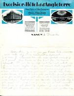 FACTURE.54.NANCY.EXCELSIOR-HOTEL & D'ANGLETERRE.PAUL MAUJEAN PROPRIETAIRE PLACE THIERS & 1 RUE MAZAGRAN. - Non Classificati