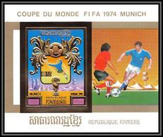 85672 Mi Bloc BF N°104 B Munich 74 1974 Football Soccer Khmère Cambodia ** MNH OR Gold Non Dentelé Imperf - 1974 – West Germany
