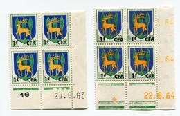 REUNION COIN DATE DU N°342 ** GUERET DATE DU 27-6-63 ET 22-6-64 - Unused Stamps