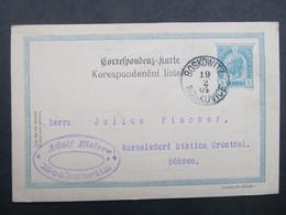 GANZSACHE Boskovice - Wurzelsdorf 1904///  C2768 - Covers & Documents
