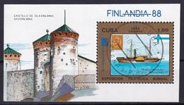 Kuba Block 104 Gestempelt, Internationale Briefmarkenausstellung FINLANDIA'88 In Helsinki - Blocks & Sheetlets