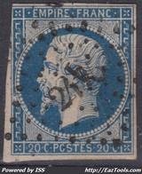 FRANCE CLASSIQUE : EMPIRE N° 14 OBLITERATION PC 2475 PLUVIGNER MORBIHAN - 1853-1860 Napoleon III