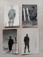 #21 Lot 4 Pcs. Original Photo Man Men Boy Homme Garcon Pose Skier Mountain Hiker Randonneur En Montagne Skieur - Anonymous Persons