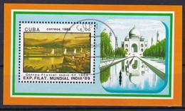 Kuba Block 113 Gestempelt, Internationale Briefmarkenausstellung INDIA'89 In Neu-Delhi - Blocks & Sheetlets