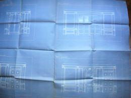 Plan Architecture D'un Salon Début 20 ème En Blanc Sur Fond Bleu 75 X 100 Cm - Architectuur