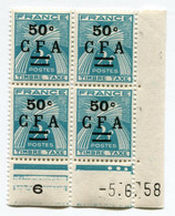 REUNION COIN DATE DU TX 37 ** GERBES DATE DU 5-6-58 - Unused Stamps
