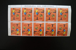 Paraguay Soccer Football Block Of 10 With Setenants MNH 1978  A04s - Paraguay