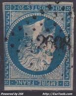FRANCE CLASSIQUE : EMPIRE N° 14 OBLITERATION PC 2608 QUIBERON MORBIHAN - 1853-1860 Napoleon III