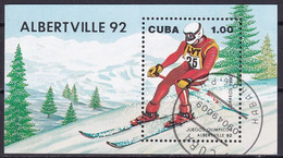 Kuba Block 119 Gestempelt, Olympische Winterspiele1992  In Albertville - Blocks & Sheetlets