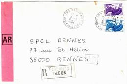 PLOUHINEC 29 Finistère Lettre Recommandée AR Liberté Yv 2275 2276 Ob 2 3 1984 - 1982-90 Vrijheid Van Gandon