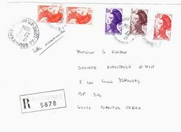 BOURGUENAIS Loire Atlantique Lettre Recommandée Liberté Yv  2179 2182 2243 2276 Ob 27 2 1984 - 1982-90 Vrijheid Van Gandon
