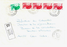 St PIERRE Sur DIVES Calvados Lettre Recommandée Liberté Yv 2181 2244 Ob 25 3 1985 - 1982-90 Vrijheid Van Gandon