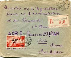 REUNION LETTRE RECOMMANDEE PAR AVION AVEC AFFRANCHISSEMENT COMPLEMENTAIRE AU DOS DEPART SAINT-JOSEPH 23-7-1949 POUR.... - Covers & Documents