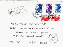 BLONVILLE Sur MER  Calvados Lettre Recommandée Liberté Yv 2179 2240 2275 2276 Ob 18 2 1984 - 1982-90 Vrijheid Van Gandon