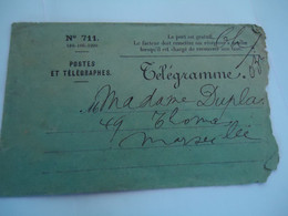 FRANCE  COVER  TELEGRAMME - Unclassified