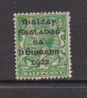 IRELAND    1922    1/2d  Green     Printed  By  Harrison    MH - Unused Stamps