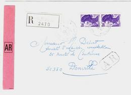 St JAMES Manche Lettre Recommandée AR Liberté Yv 2276 Ob 30 9 1985 - Brieven En Documenten