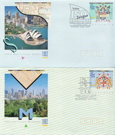 Australia 2 Cancelled Postal Stationery Covers - Postal Stationery