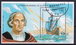 Kuba Block 129 Gestempelt, Internationale Briefmarkenausstellung GENOVA'92 In Genua - Blocks & Sheetlets
