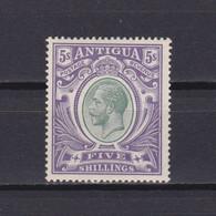 ANTIGUA 1913, SG# 51, CV £95, 5s Grey-green&violet, KGV, MH - 1858-1960 Crown Colony