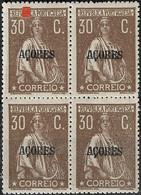 PORTUGAL 1921 30C Ceres Açores - 15X P. P. Vertical - MNHOG No Faults - Unclassified