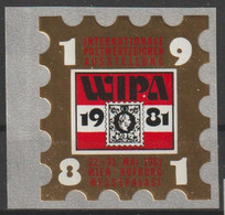 "1981 - ÖSTERREICH - Vignette ""WIPA 1981""  Gold/rot - ** Ungebraucht A. Trägerfolie - S.Scan  (vig Wipa 1981 01-03   At) - Private Stamps"