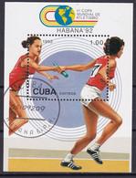 Kuba Block 130 Gestempelt, Leichtathletik - Weltmeisterschaften In Havanna - Staffellauf - Blocks & Sheetlets