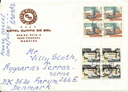 Portugal Cover Sent To Denmark 14-4-1980 With 2 X Block Of 4 Stamps - Covers & Documents