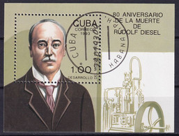 Kuba Block 132 Gestempelt, 80. Todestag Von Rudolf Diesel - Blocks & Sheetlets