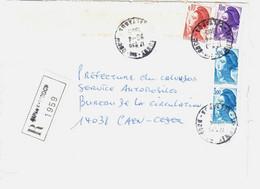 AUNAY Sur ODON Calvados Lettre Recommandée Liberté Yv 2320 2276 2179 Ob 29 4 1985 - 1982-90 Liberté De Gandon