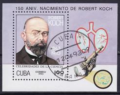 Kuba Block 134 Gestempelt, Naturwissenschaftler - Robert Koch - Blocks & Sheetlets