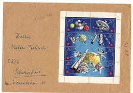 ALLEMAGNE DDR MI 1636 A 1643 SE TENANT OBLITERES SUR LETTRE THEME ESPACE - Briefe U. Dokumente