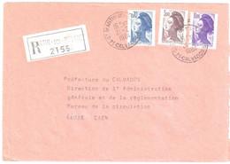 St MARTIN De BESACES Lettre Recommandée Liberté Yv 2276 2243 2240Ob 21 2 1984 - 1982-90 Liberté De Gandon