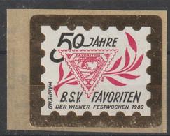 """1980 - ÖSTERREICH - Vig. """"50 Jahre B.S.V. Favoriten""""  ** Ungebraucht A.Trägerfolie - S.Scan  (vig Bsv Favoriten   At) - Private Stamps"""