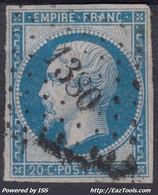 FRANCE CLASSIQUE : EMPIRE N° 14 OBLITERATION PC 1380 GENDREY JURA - 1853-1860 Napoleon III
