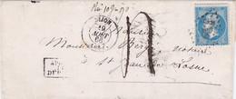 LAC Dijon 19 Août 1866 Après Le Départ Sur 20c Empire Dentelé Poids Inscrit 10g90 Justifiant Une Taxe De 4 Décimes - 1849-1876: Klassieke Periode