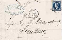 LAC Manufacture De Draps BLIN & BLOCH Bischwiller 16 Mars 1868 Mention 9g 80c Justifiant L'afft Par Un 20c Empire Lauré - 1849-1876: Klassieke Periode