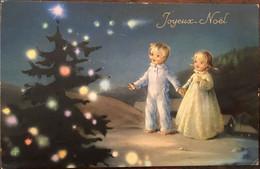 Cp, Joyeux Noël, Enfants Dan Sla Neige Face à Un Sapin Illuminé, éd SAEMEC, écrite - Sonstige