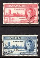 ADEN - 1946 VICTORY SET (2V) FINE USED SG 28-29 REF A - Aden (1854-1963)